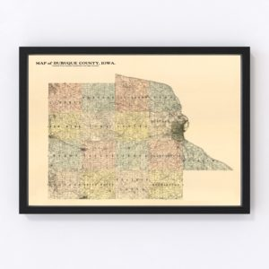 Vintage Map of Dubuque County, Iowa 1900