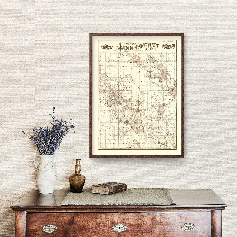 Vintage Map of Linn County, Iowa 1949