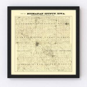 Vintage Map of Buchanan County, Iowa 1900