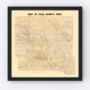 Vintage Map of Pok County, Iowa 1895