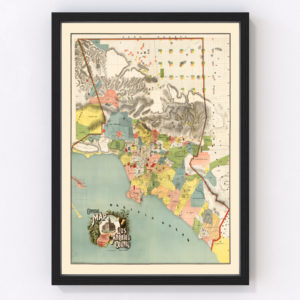 Vintage Map of Los Angeles County, California 1888