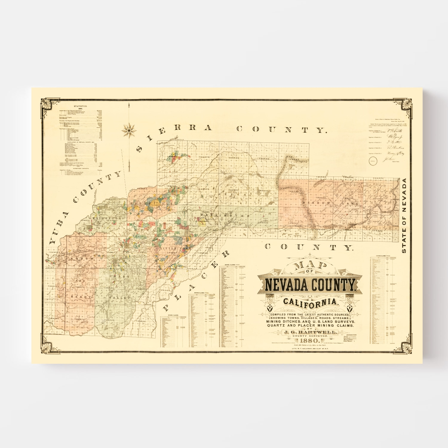 Vintage Map of Nevada County, California 1880