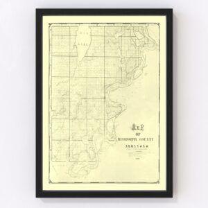 Vintage Map of Mississippi County, Arkansas 1898