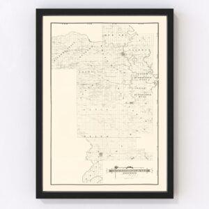 Vintage Map of Prairie County, Arkansas 1892