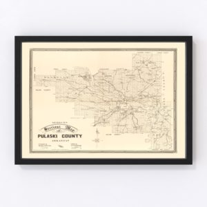 Vintage Map of Pulaski County, Arkansas 1898