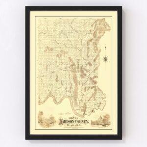 Vintage Map of Madison County, Alabama 1875