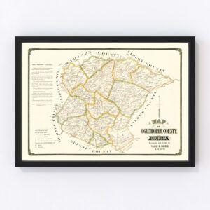 Vintage Map of Oglethorpe County, Georgia 1894