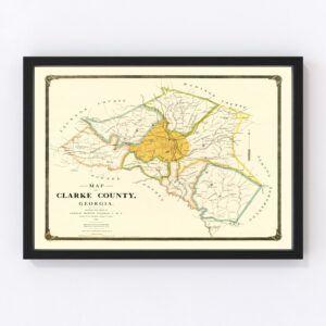 Vintage Map of Clarke County, Georgia 1893