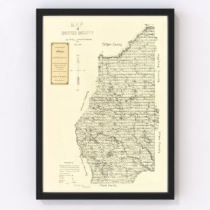 Vintage Map of Coffee County, Georgia 1891