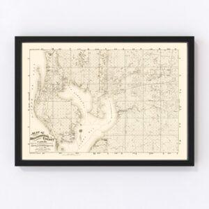 Vintage Map of Hillsborough County, Florida 1882