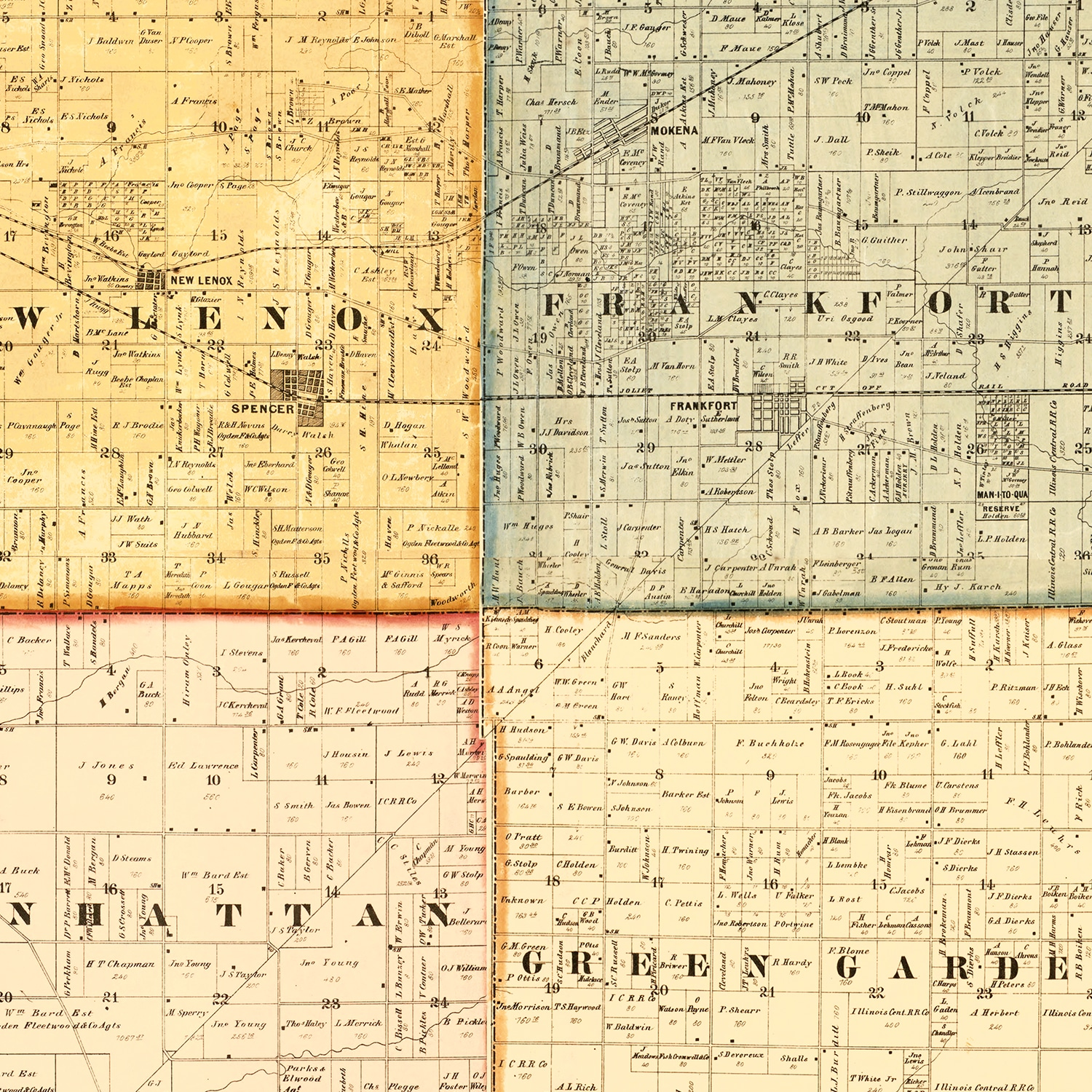 Vintage Map of Will County, Illinois 1864