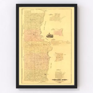 Vintage Map of Vermillion County, Indiana 1872