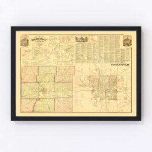 Vintage Map of Marion County, Indiana 1866