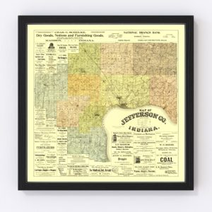 Vintage Map of Jefferson County, Indiana 1900