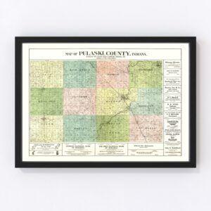 Vintage Map of Pulaski County, Indiana 1907