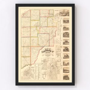Vintage Map of La Porte County, Indiana 1866