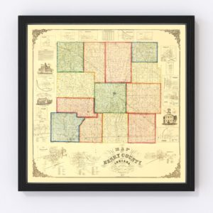 Vintage Map of Henry County, Indiana 1857
