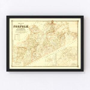 Vintage Map of Norfolk County, Massachusetts 1853