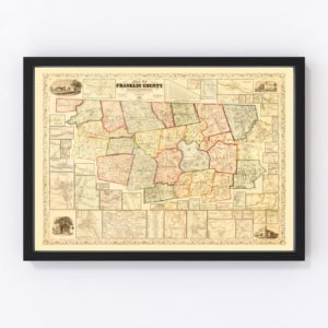 Vintage Map of Franklin County, Massachusetts 1858