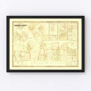 Vintage Map of Hampden County, Massachusetts 1855