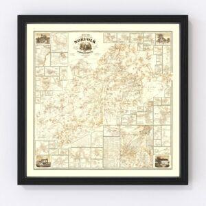Vintage Map of Norfolk County, Massachusetts 1858