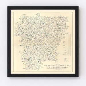 Vintage Map of Carroll County, Maryland 1911