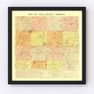 Vintage Map of Cass County, Michigan 1897