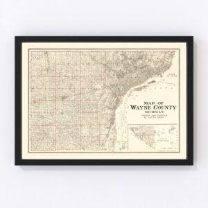 Vintage Map of Wayne County, Michigan 1915