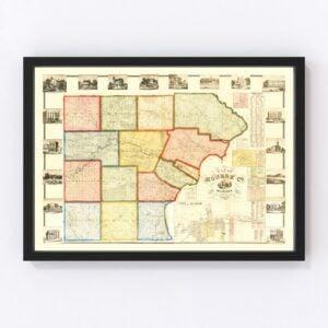 Vintage Map of Monroe County, Michigan 1859