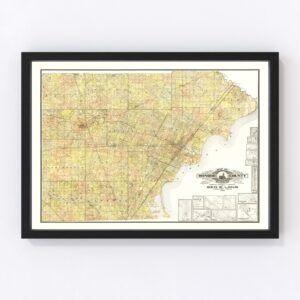 Vintage Map of Monroe County, Michigan 1901