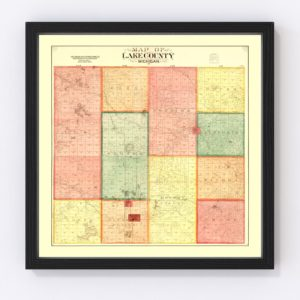Vintage Map of Lame County, Michigan 1900