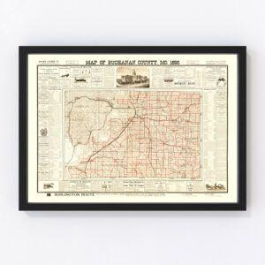 Vintage Map of Buchanan County, Missouri 1895