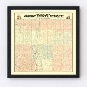Vintage Map of Gundy County, Missouri 1890