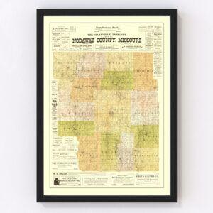 Vintage Map of Nodaway County, Missouri 1906