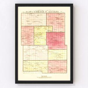 Vintage Map of Webster County, Missouri 1877