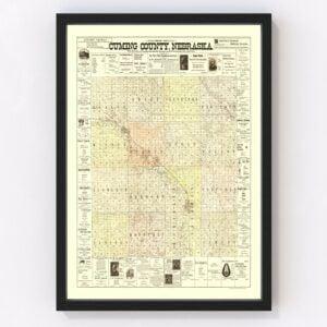 Vintage Map of Cuming County, Nebraska 1900