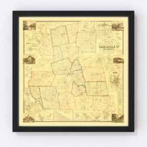 Vintage Map of Cheshire County, New Hampshire 1858