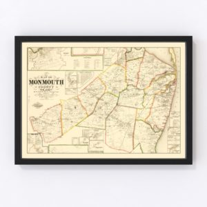 Vintage Map of Monmouth County, New Jersey 1861