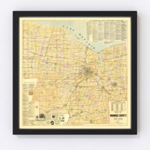 Vintage Map of Monroe County, New York 1887