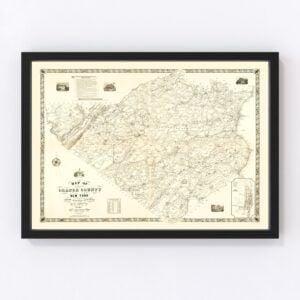 Vintage Map of Orange County, New York 1851