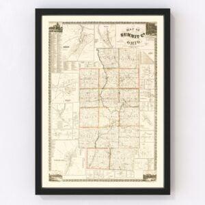 Vintage Map of Summit County, Ohio 1856