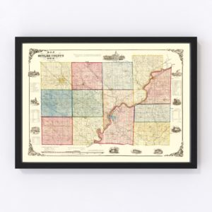 Vintage Map of Butler County, Ohio 1855