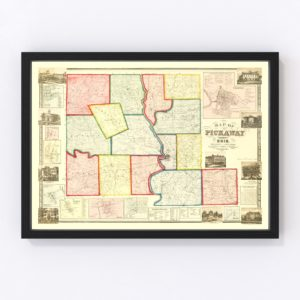 Vintage Map of Pickaway County, Ohio 1858
