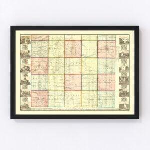 Vintage Map of Ashtabula County, Ohio 1856
