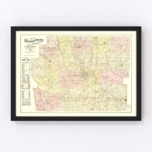 Vintage Map of Franklin County, Ohio 1883