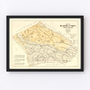 Vintage Map of Bladen County, North Carolina 1885