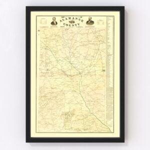 Vintage Map of Alamance County, North Carolina 1893