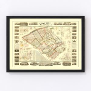 Vintage Map of Lehigh County, Pennsylvania 1865