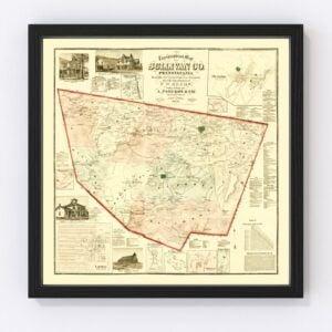 Vintage Map of Sullivan County, Pennsylvania 1872