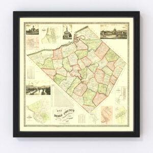 Vintage Map of Berks County, Pennsylvania 1860
